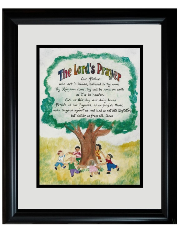 The Lords Prayer for Children Christian Wall Picture personalized in Black Frame and Black and White Matting