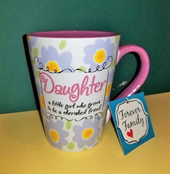 Daughter coffee mug café style coffee and tea mug with purple and yellow flowers