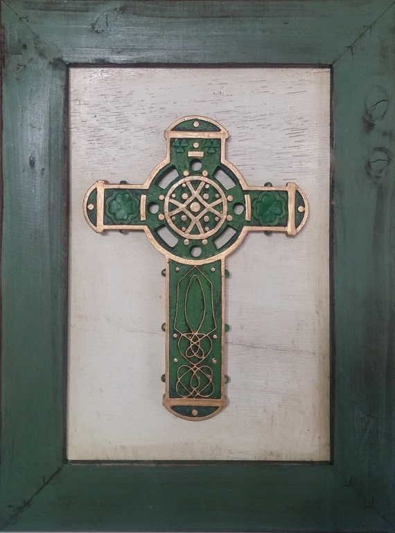Celtic Irish Cross wall décor with rustic farmhouse style frame for St. Patrick's Day, House Warming and gift giving
