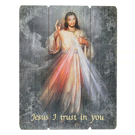 Sacred heart of Jesus pallet sign wall art for home, church or friendship gift Jesus I trust in you