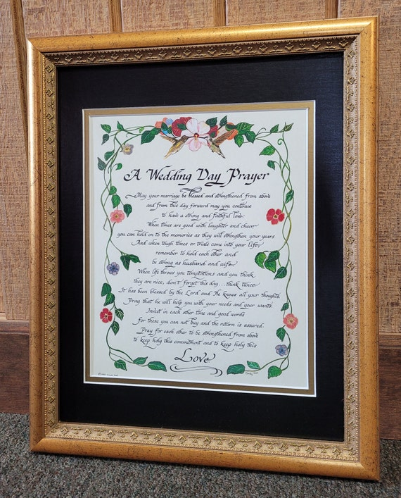 A Wedding Day Prayer framed and matted keepsake gift for Bride and Groom with antique gold or whitewash frame