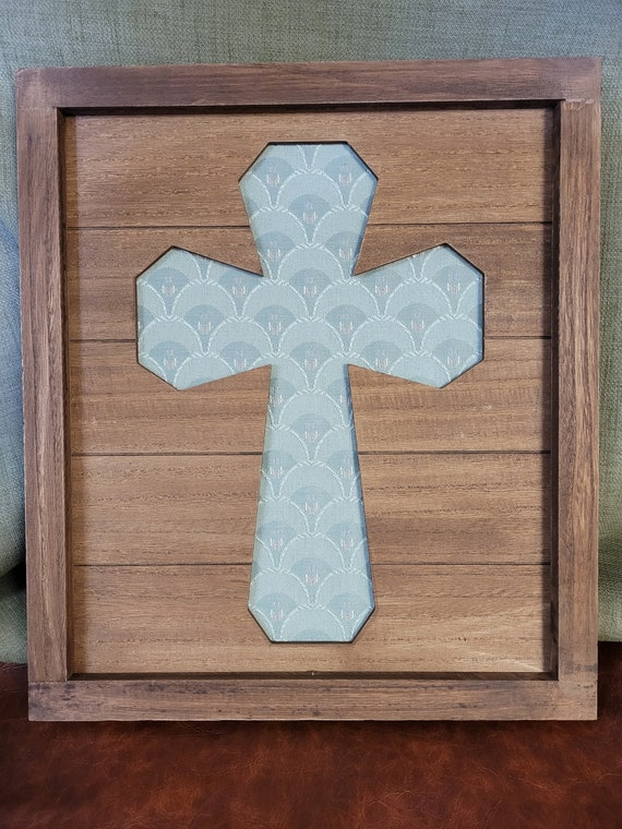 Framed rustic pallet Christian cross with light green fabric background wall décor for home and office