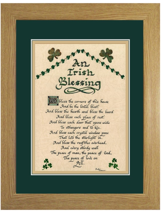 An Irish Blessing Prayer for the home Framed and Matted with option to personalize for St. Patrick's Day