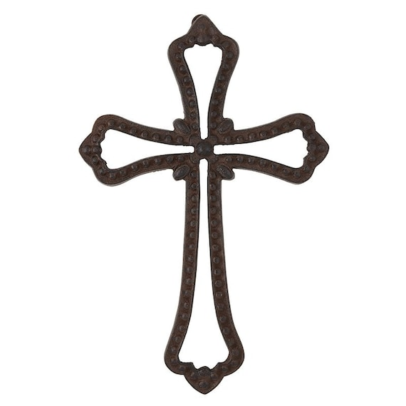 Cast Iron Wall Cross for indoor or outdoor Ornate and stylish wall hanging cross is made out of cast iron. Vintage and unique