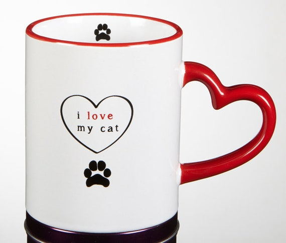 I love my cat mug I love my dog mug with heart handle in Black and Red cute Do and cat tea mug for friend and family