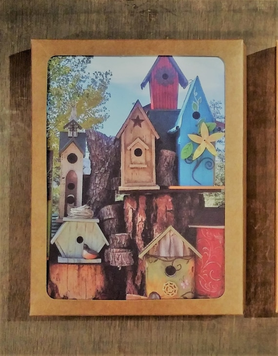 Bird house Note cards blank inside package of eight gift boxed