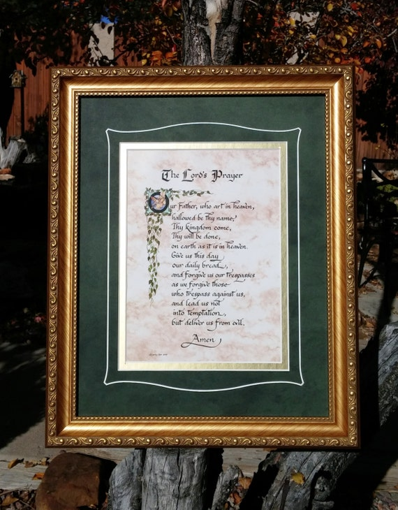 The Lord's Prayer Wall Art ~ Our Father Prayer Print ~ Christian Wall Hanging calligraphy Bible verse