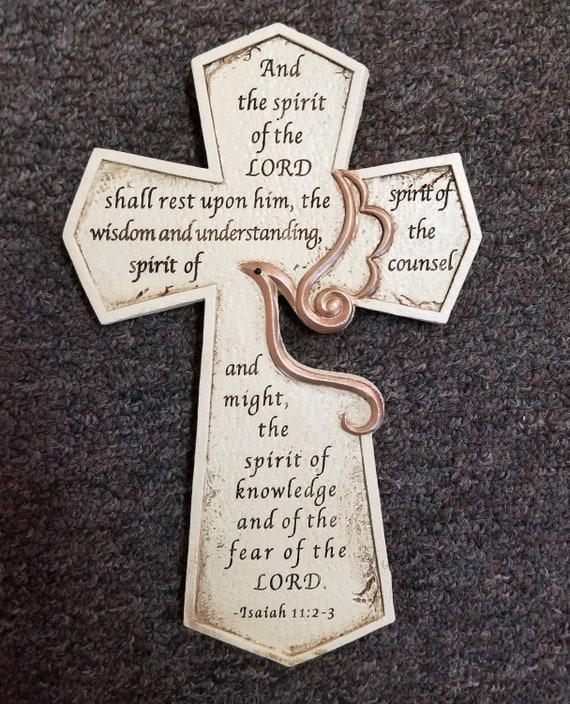 Holy Spirit Confirmation Wall Cross with Scripture Verse from Isaiah 11:12