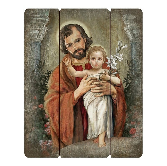 St Joseph with baby Jesus pallet sign wall art for home, church or friendship gift