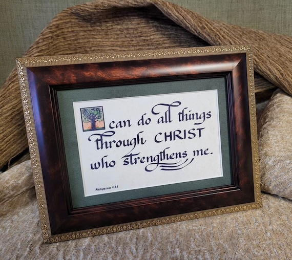 Philippians 4 13 I can do all things through Christ who strengthens me framed desktop picture