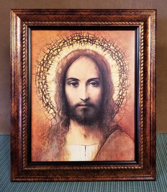 Face of Jesus Christ Print framed easel backed picture for home, office and gift giving