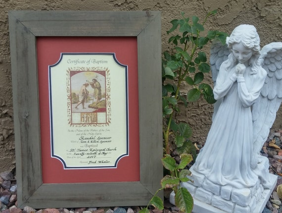 Baptism Adult Certificate framed and matted personalized in calligraphy Gift and wall décor
