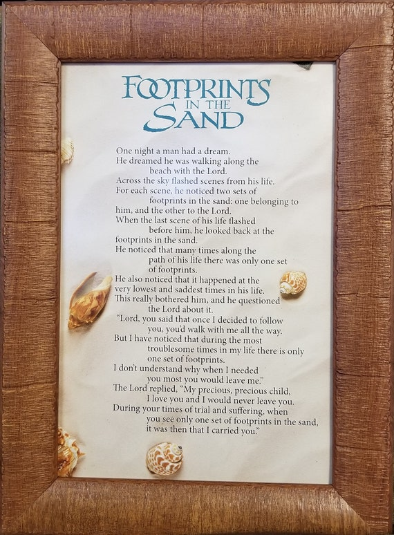 Footprints in the Sand framed beach sand picture for friend, loved one, sympathy gift