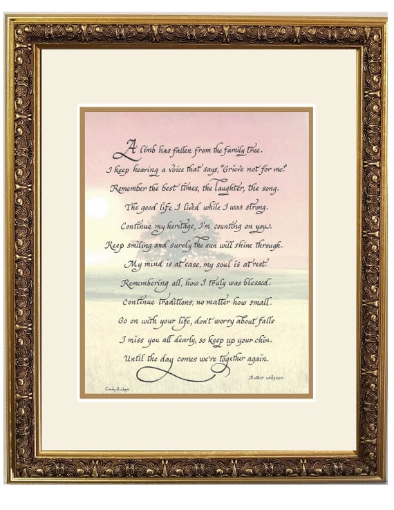 A limb has fallen from the family tree poem for funeral, memorial, sympathy and remembrance personalized gift and keepsake