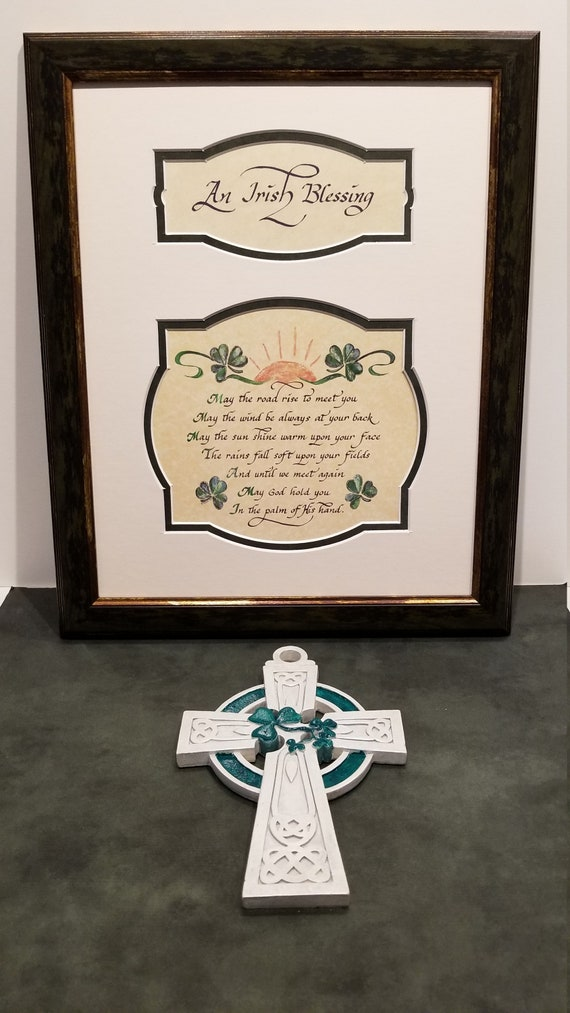 An Irish Blessing May the road rise up to meet you may the wind always be at your back framed Irish print with shamrocks FREE Celtic Cross