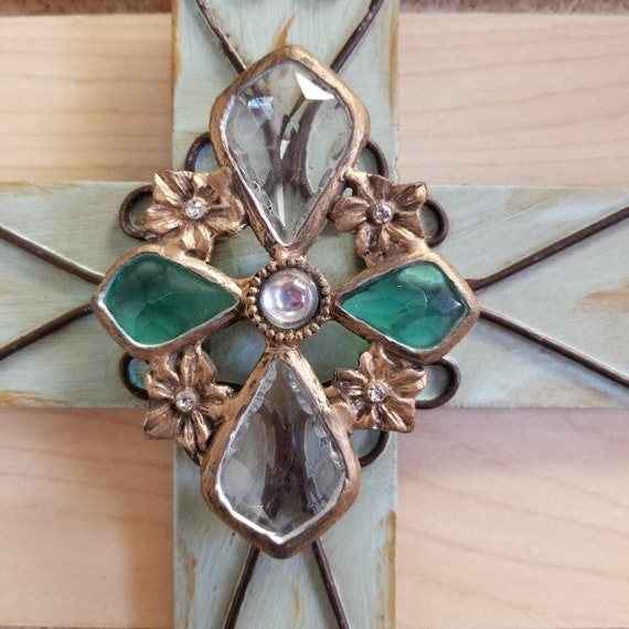 Metal Decorative Scroll Wall Crosses with jeweled center. Valentines Day, St. Patrick's Day, Friendship and Wedding Gift