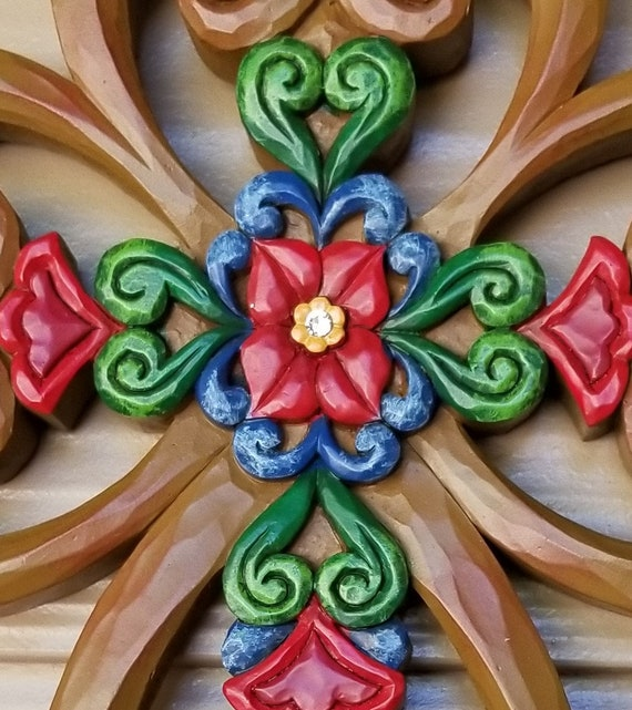 Jim Shore Faith, Family and Friends decorative floral and heart colorful wall cross