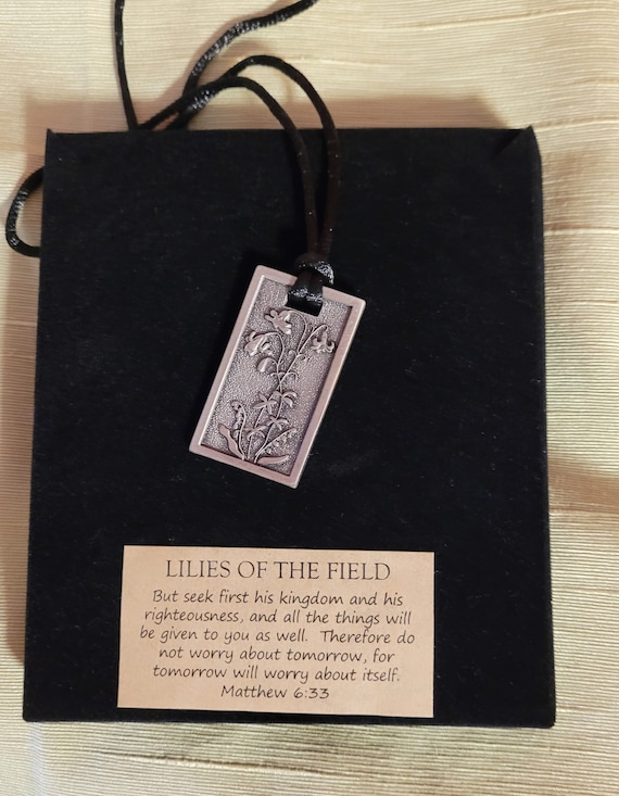 Lilies of the field silver vertical pendant necklace Matthew 6 33 Loaves and fishes