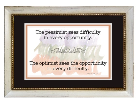 Winston Churchill Pessimist and Optimist Quote framed and matted inspirational verse for home, office, classroom, bedroom and kitchen