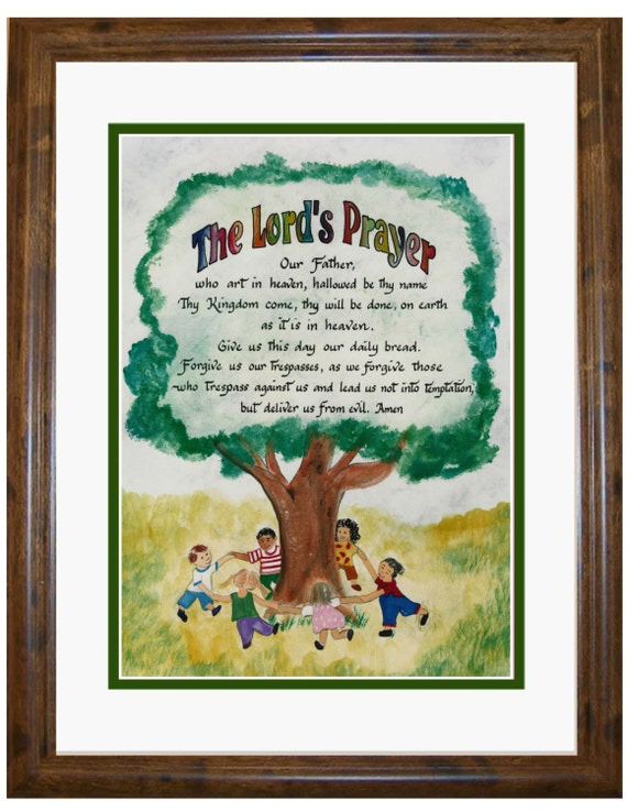 The Lords prayer for Children calligraphy and art picture personalized free for boy or girl Baptism Birthday Holy Communion