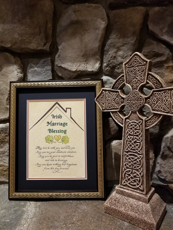Irish Blessing Marriage Wedding Prayer for Bride and Groom with shamrocks and heart personalized and framed ready to hang keepsake