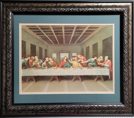 The Last Supper by Leonardo Da Vinci double matted and framed print ready to hang