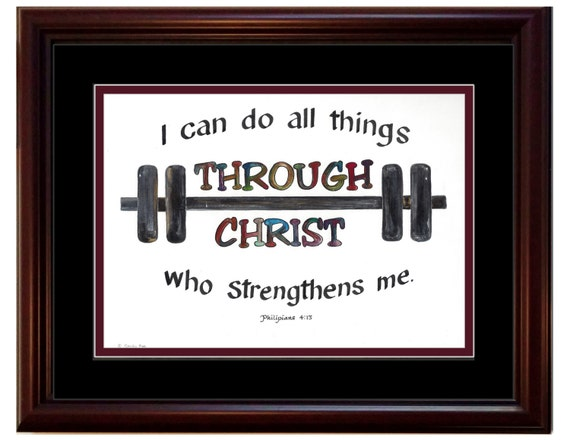 I Can Do All Things Through Christ Who Strengthens Me ~ Bible Verse Quote Print ~ Christian Wall Art