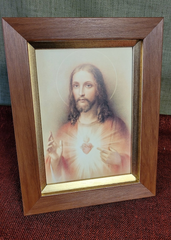 Sacred Heart of Jesus print framed picture for desktop, shelf, nightstand and counter with easel on back