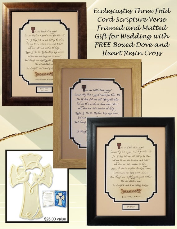 Ecclesiastes 4:9-12 Three-Fold Cord scripture Bible calligraphy verse for wedding or anniversary FREE Gift Boxed Cross with Dove and hearts