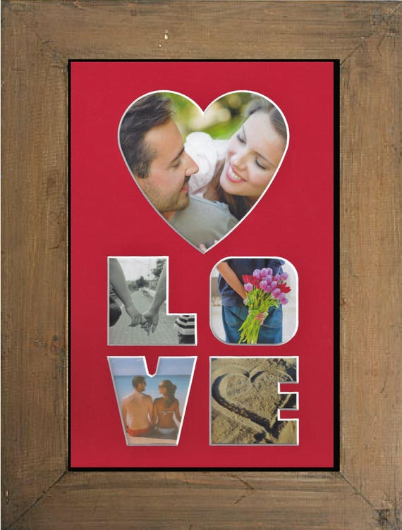 Love Photo Mat with brown rustic farm house frame for Valentine's Day, Wedding, Anniversary, Mother's Day and Christmas