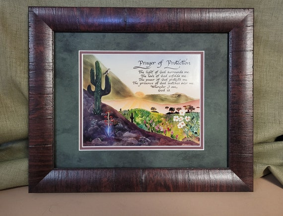 Prayer of Protection picture framed and matted. Southwest design with calligraphy by Candy Bridges