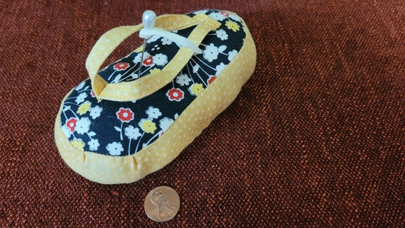 Cute Flip Flop fabric pin cushion - Only one of each design