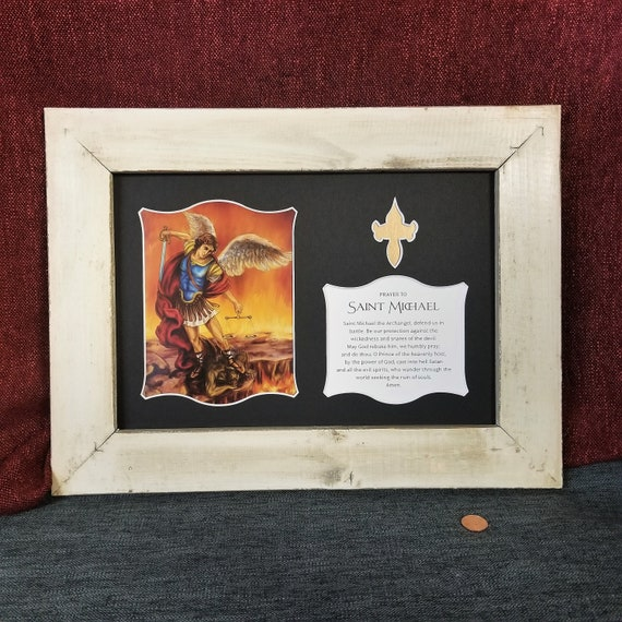 Saint Michael the Archangel print with the Saint Michael prayer framed and matted wall art with barn wood style rustic farm house frame