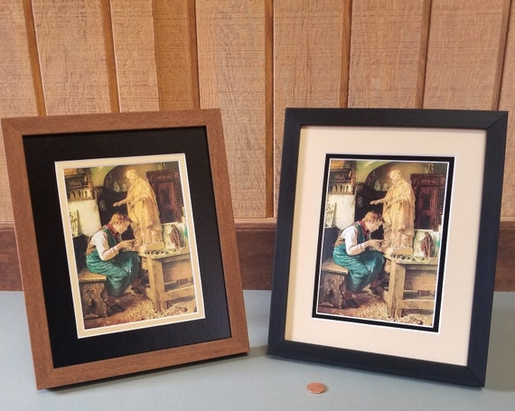 Madonna art His Madonna Boy carving Blessed Virgin Mary matted and framed Catholic Art Print