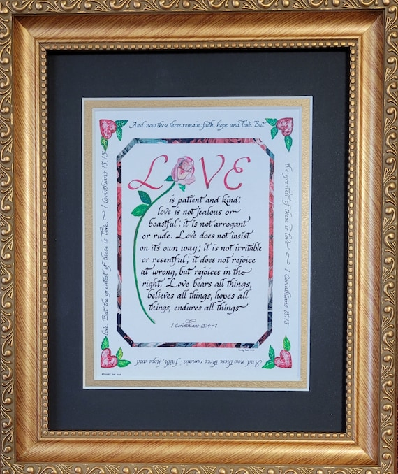 Love is patient. Love is kind Scripture Calligraphy framed verse