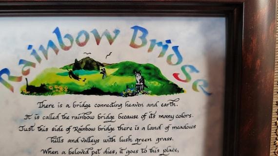 Rainbow Bridge poem calligraphy print framed memorial sympathy desktop picture