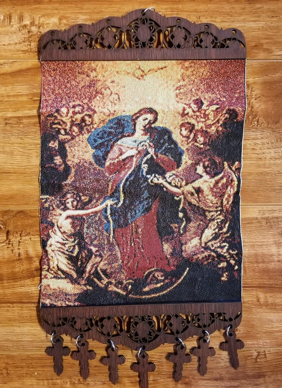 Mary un doer or un tier of knots beautiful tapestry wall hanging with crosses