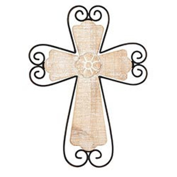 Rustic white wash wood Cross with black metal scrollwork farmhouse style for home, office and gift giving