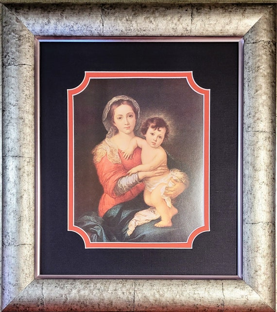 Virgin Madonna and Child Jesus Catholic Art framed and matted print
