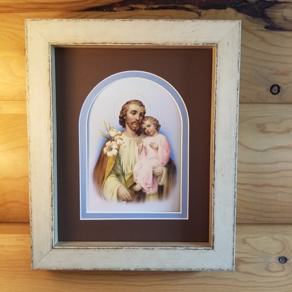Saint Joseph and the child Jesus print framed and matted picture St Joseph with lily