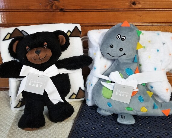 Baby Blanket with Bear or Dinosaur Stuffed Toy with matching lightweight Blanket Shower gift, Newborn gift