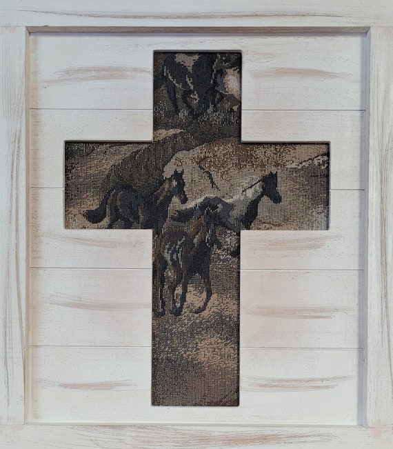 Wood Cross with tapestry horses southwest design wall art