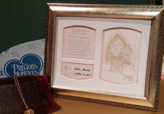 First Holy Communion picture framed and personalized precious moments gift for boy or girl