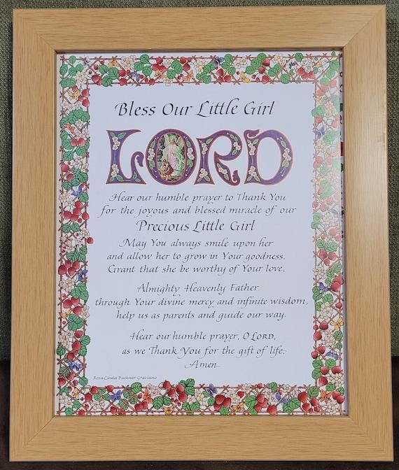 Bless our little Girl Lord framed print