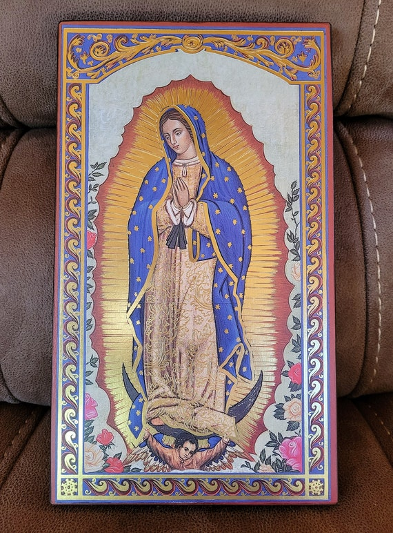 Lady of Guadalupe Lithography icon gold printed art plaque made in Germany