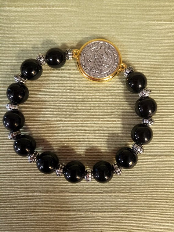 Saint Benedict Bracelet with Black Beads and two tone Saint Benedict Medal
