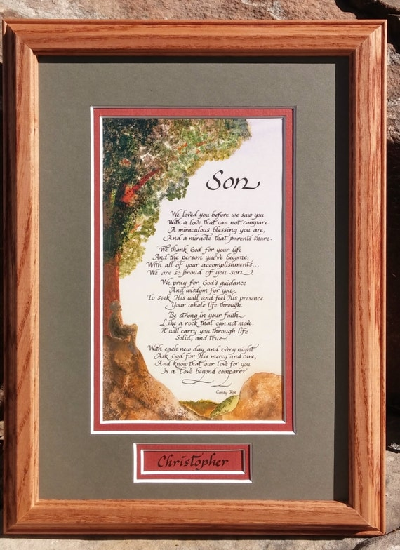 Gift for Son from single parent or from both parents matted and framed with personalization, graduation gift for son from mom and dad