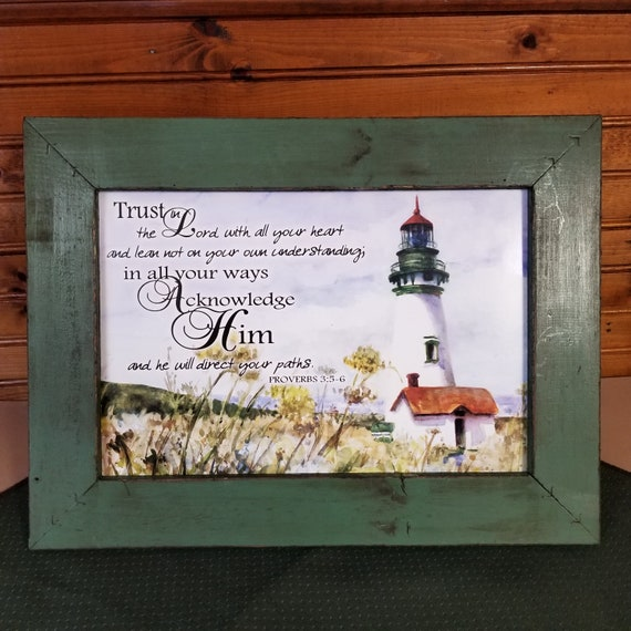 Trust in the Lord with Lighthouse picture scripture rustic farmhouse frame seaside art