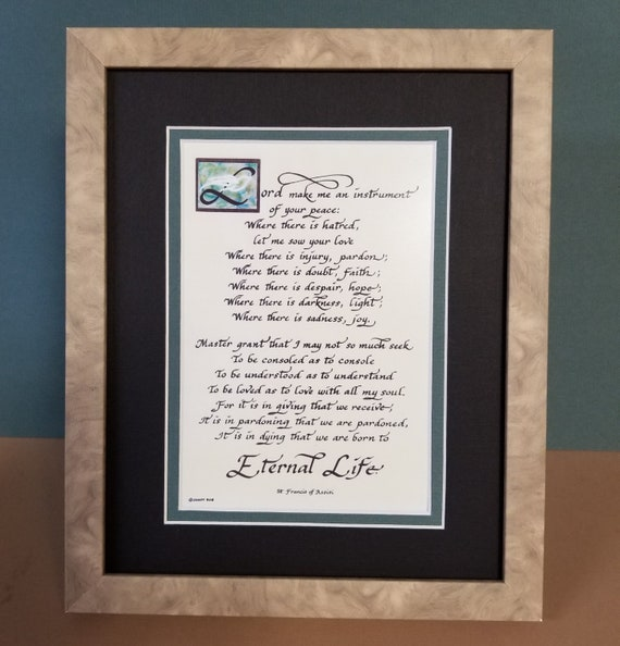 "Saint Francis Peace Prayer quote calligraphy Poem Verse framed and matted 8"" X 10"" desktop picture"