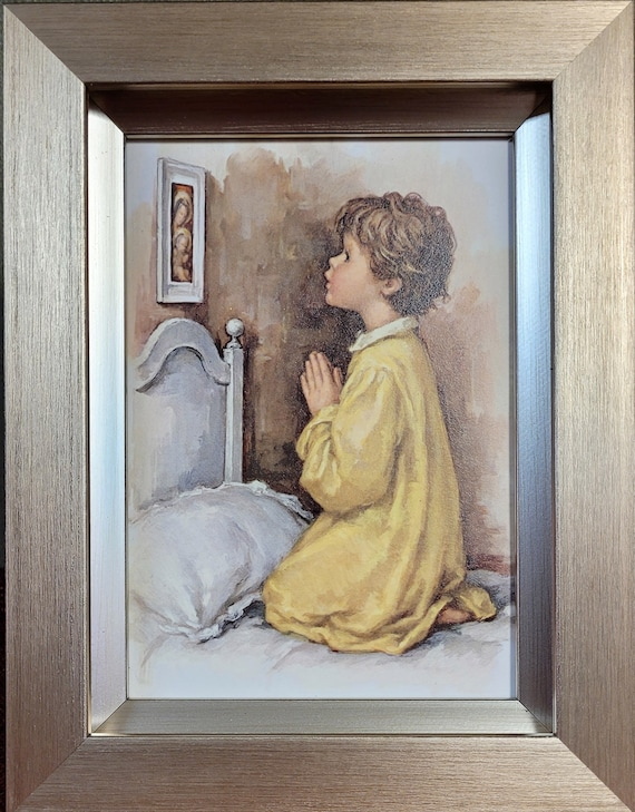 Vintage print of Praying boy framed picture for nightstand, shelf or dresser